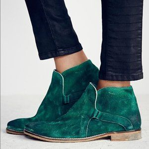 Free People Green Summit Distressed Suede Bootie